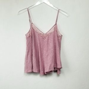 .Free People//Dusty Rose Lace Trim Swing Cami